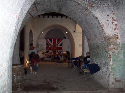 Fort Amhurst Tunnels Lower Gun Floor With Re-enactors